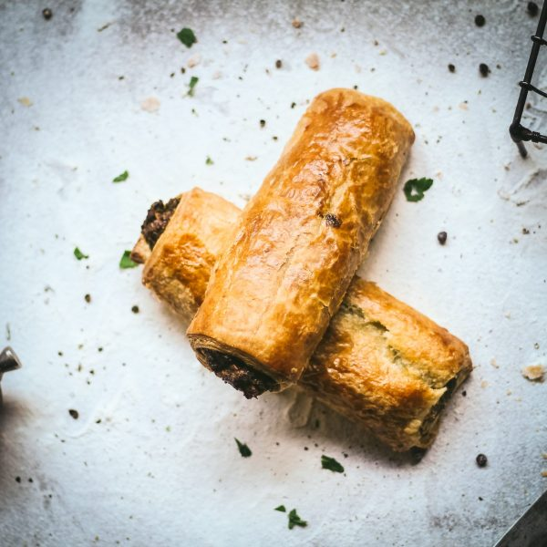 Kale, spinach, feta, ricotta and parmesan sausage rolls